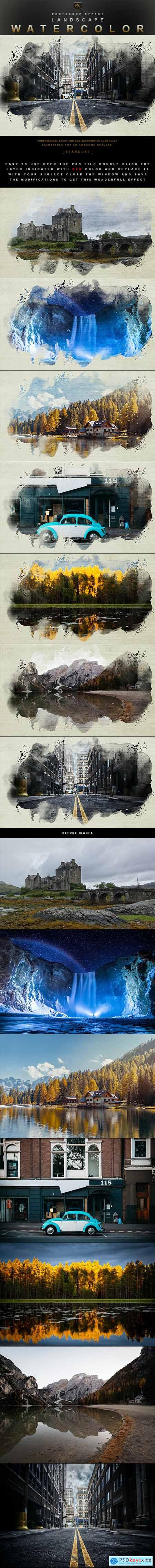 Landscape Watercolor - Photoshop Effect 29914082