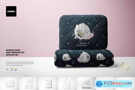 Double-sided Baby Bedding Set Mockup 5618730