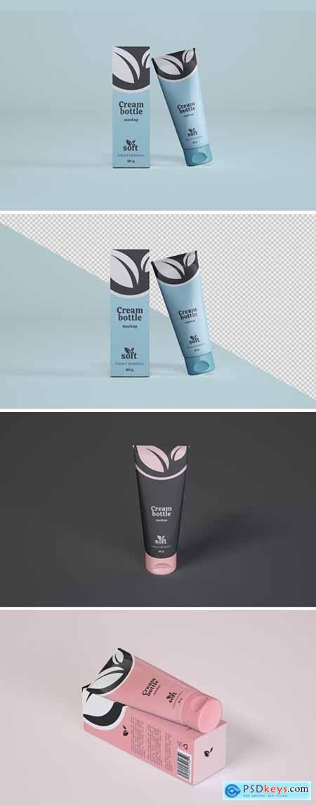 Cosmetic Cream Tube and box Mockup