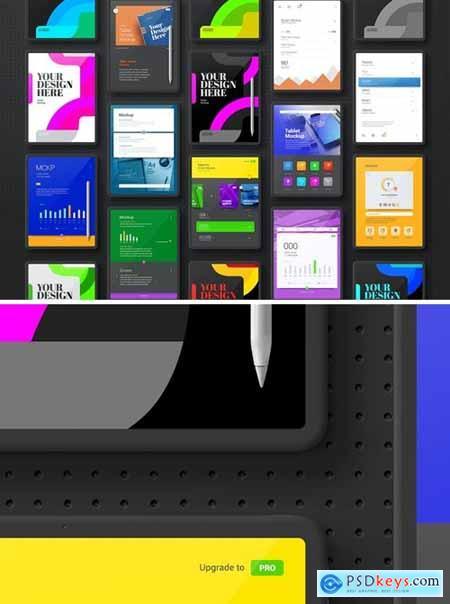 Tablet Minimal Black Set Mockup