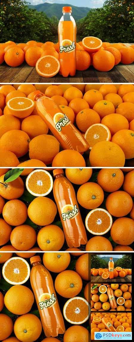 Orange Soda Bottle Mockup