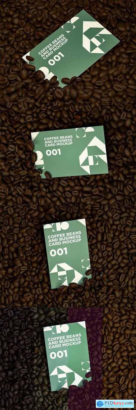 Coffee Beans And Business Card MockUp 001
