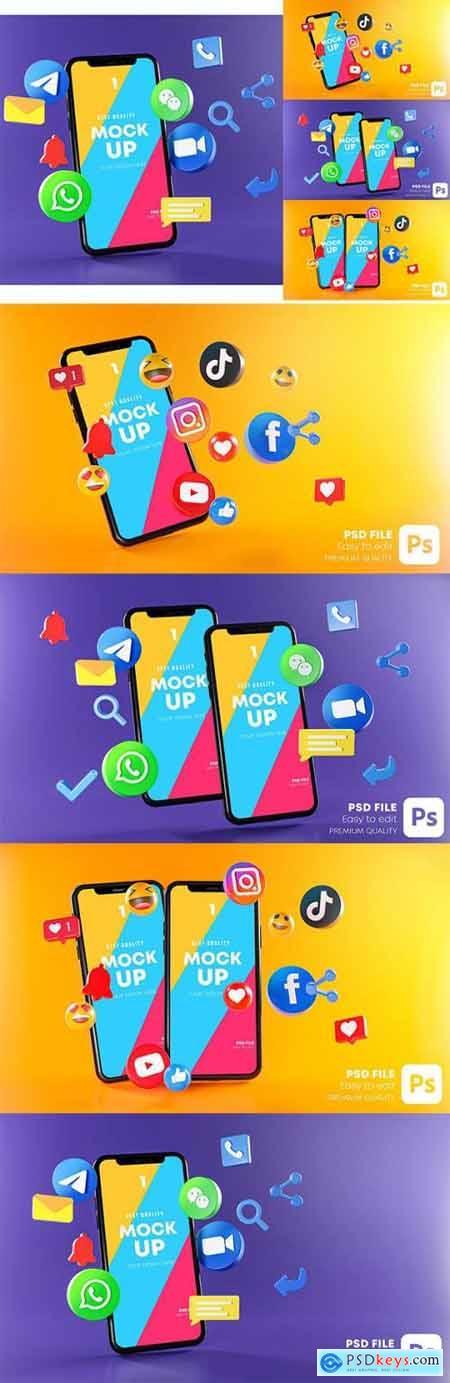 Most Popular Social Media Phones Mockup