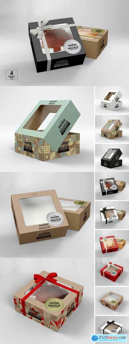 Square Flip Top Cake Box Packaging Mockup