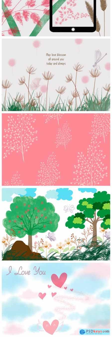 FLOWER GRASS FIELD Procreate Brush Stamp 7941667