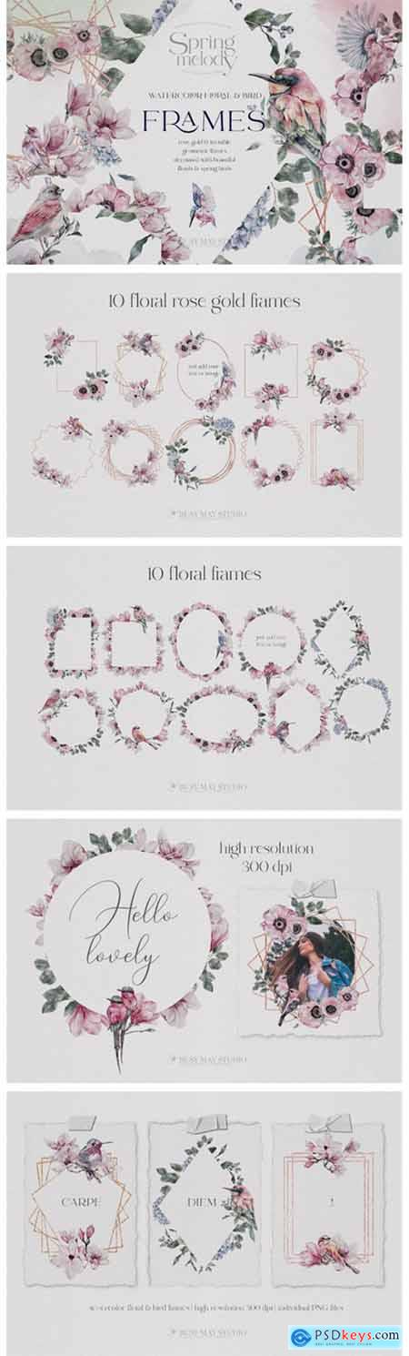 Watercolor Floral Rose Gold Frames PNG 7637209