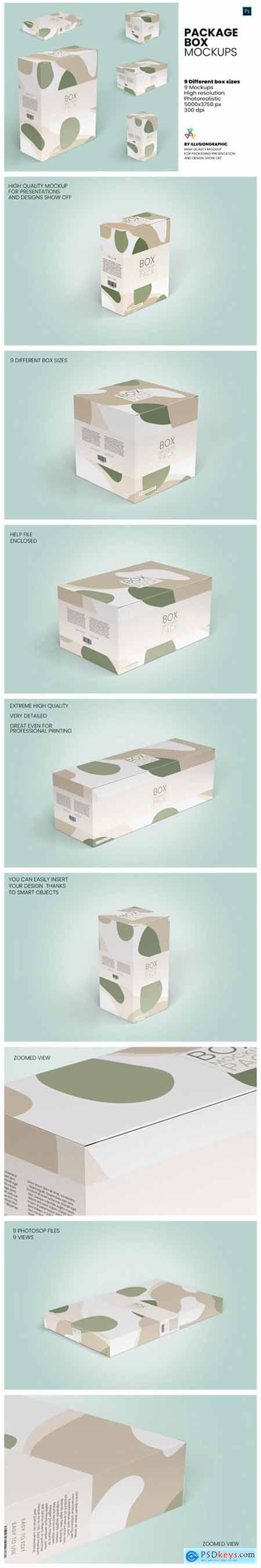 Package Box Mockups - 9 Box Sizes 7967175