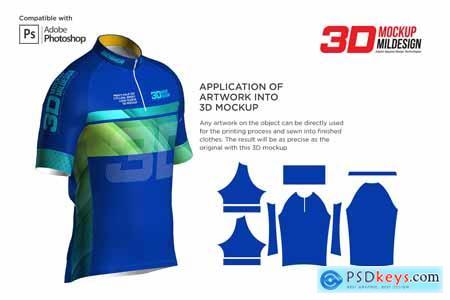 3D Mens Cycling Jersey Half-zip SS 5539685