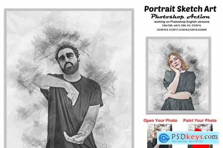 Portrait Sketch Art Photoshop Action 5814489