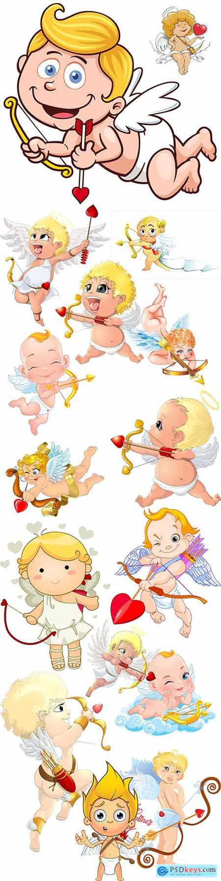 Funny cartoon cupid St Valentines day romantic collection