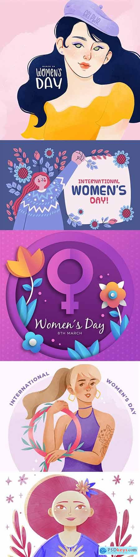 Happy Womens Day March 8 watercolor illustration 3