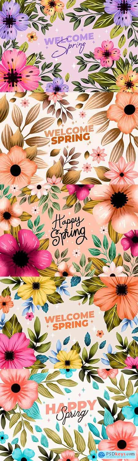 Colorful flowers watercolor pastel spring background