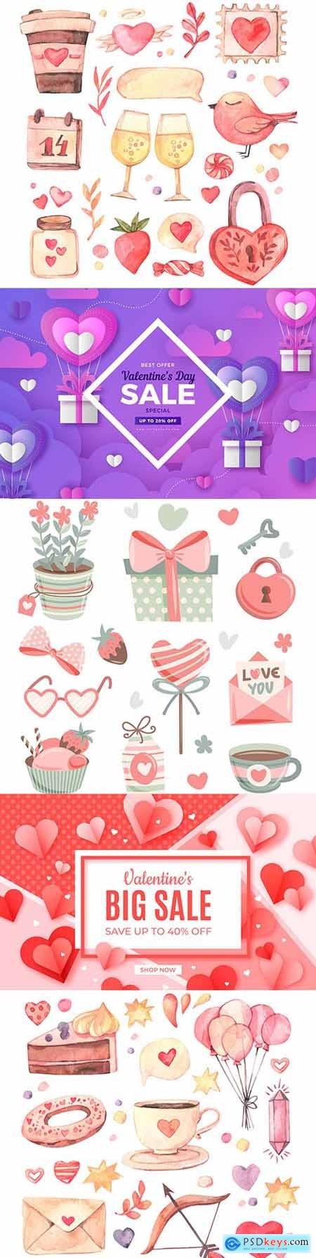Valentines Day design watercolor romantic elements collection