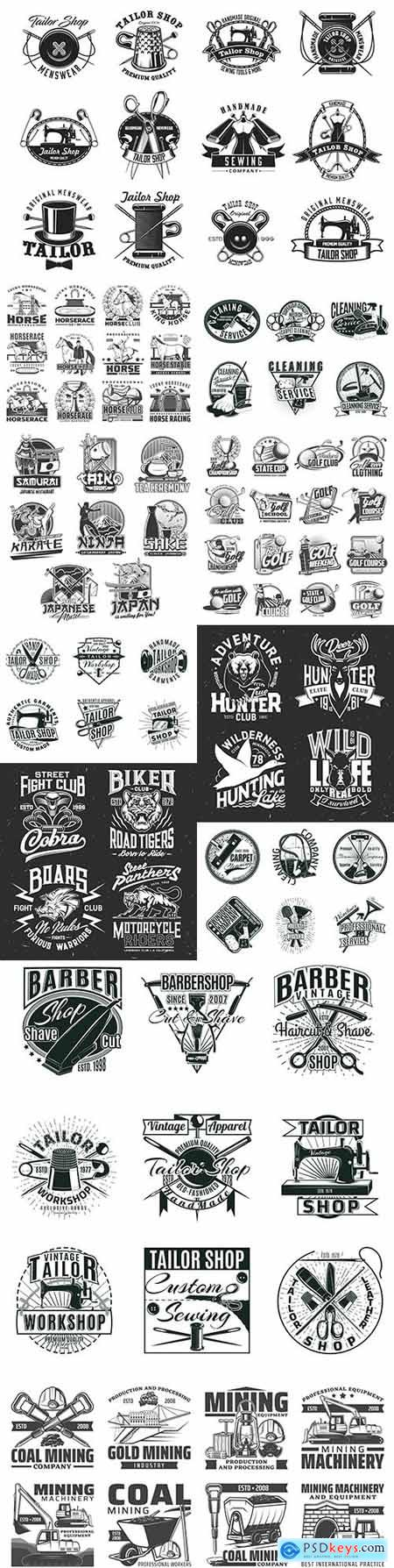 Vintage antique emblems and logos with design text 5