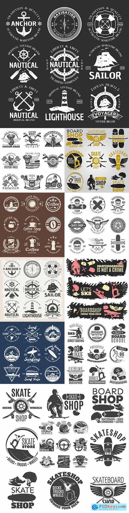 Vintage antique emblems and logos with design text 6