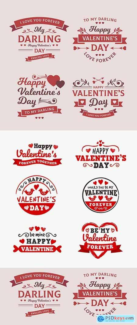Valentines Day design romantic emblems with elements