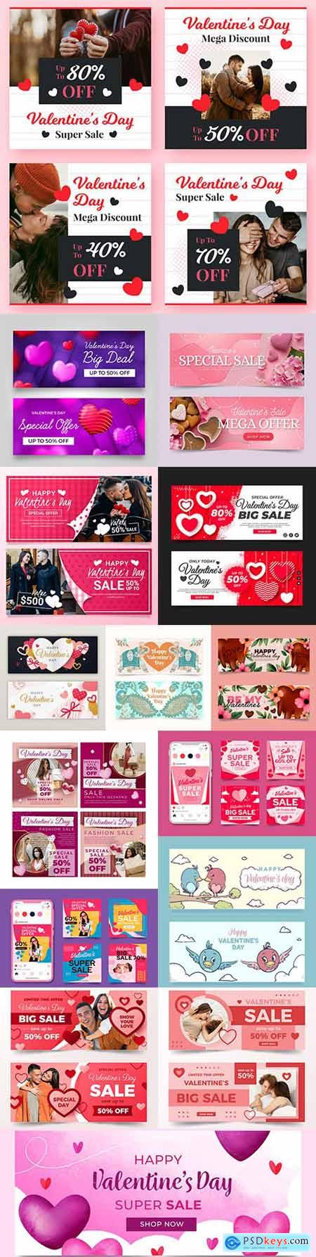 Valentines Day banner and holiday sales design template