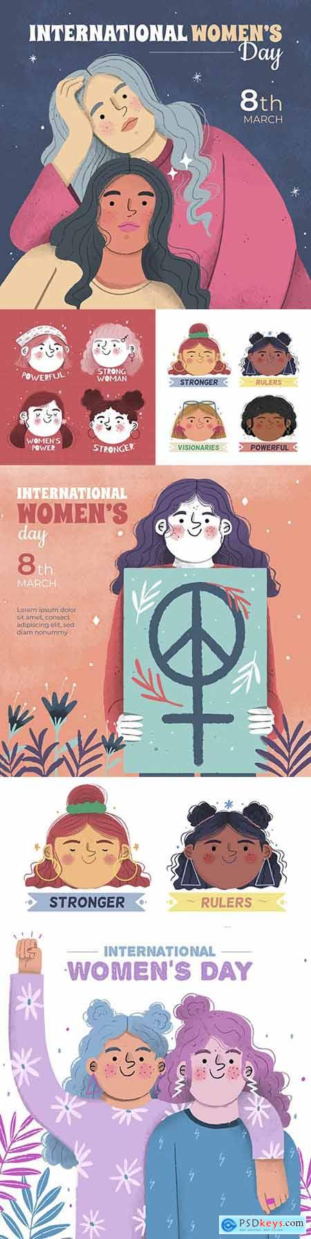 Happy Womens Day March 8 watercolor illustration 2