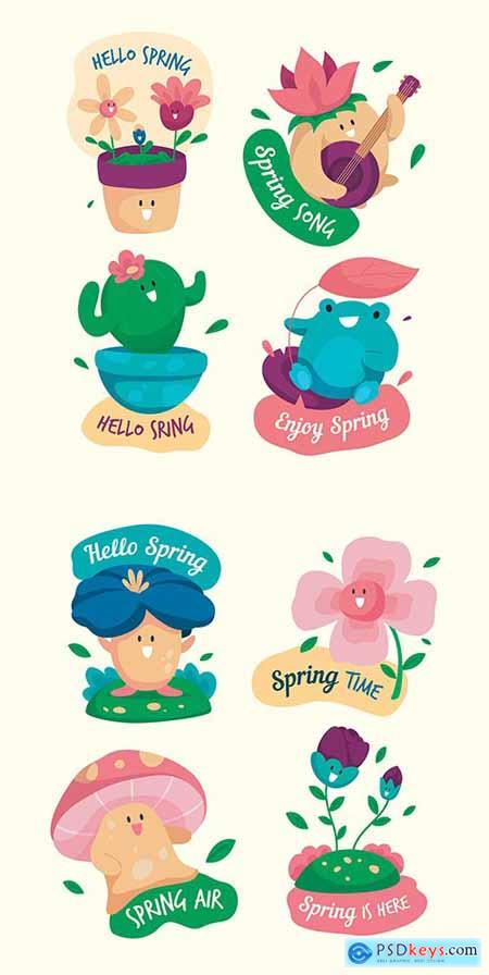 Hello spring collection decorative labels in flat design