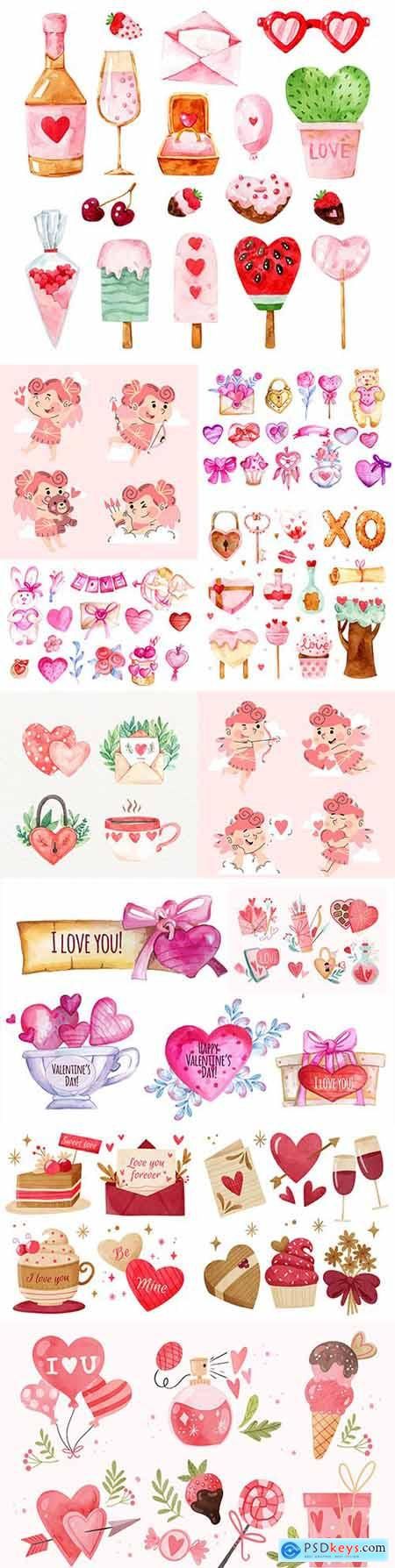 St Valentines day romantic watercolor illustrations collection 6