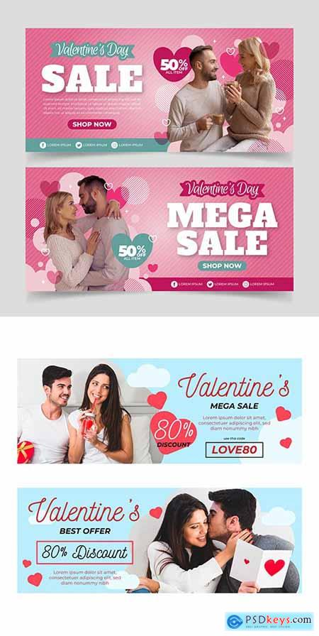 Valentines Day holiday sales design template banners 3