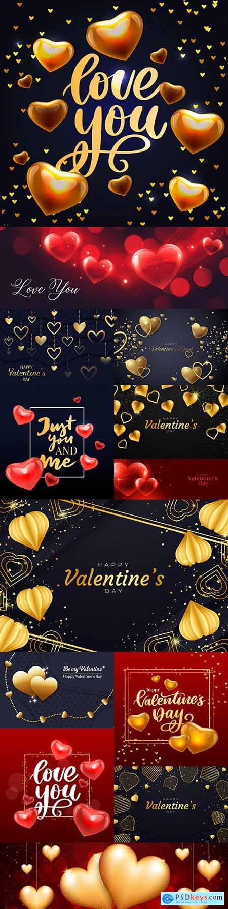 Valentines Day romantic golden hearts and elements illustration