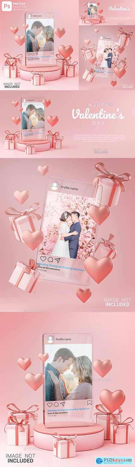 Instagram Post Mockup on Glass Template Valentine Wedding Love Heart Shape and Gift Box 3D Rendering 30090315