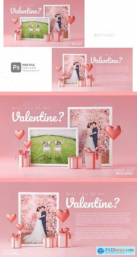 Photo Frame Mockup Template Love Heart Valentine Wedding Invitation Card Design 30090490