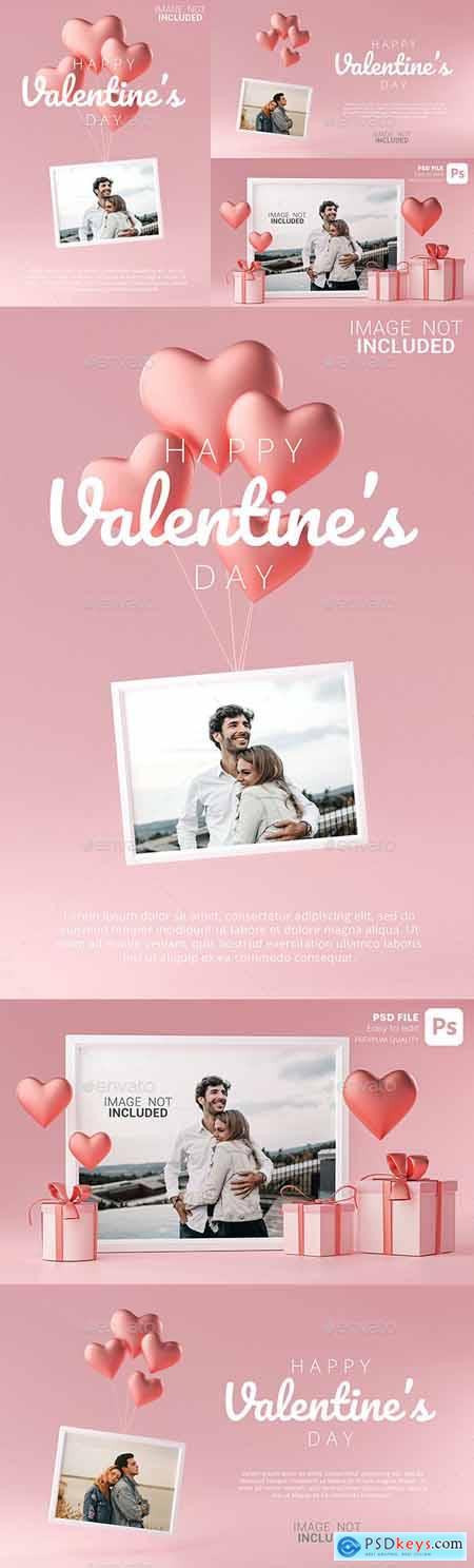 Portrait Photo Frame Mockup Template Love Heart Ballon and Gift Box 3D Rendering 30090480