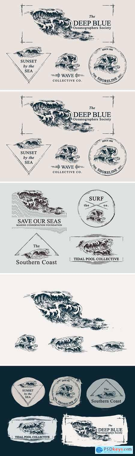 Waves Ocean Illustrations & Templates