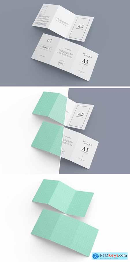 A5 Trifold Mockup Template