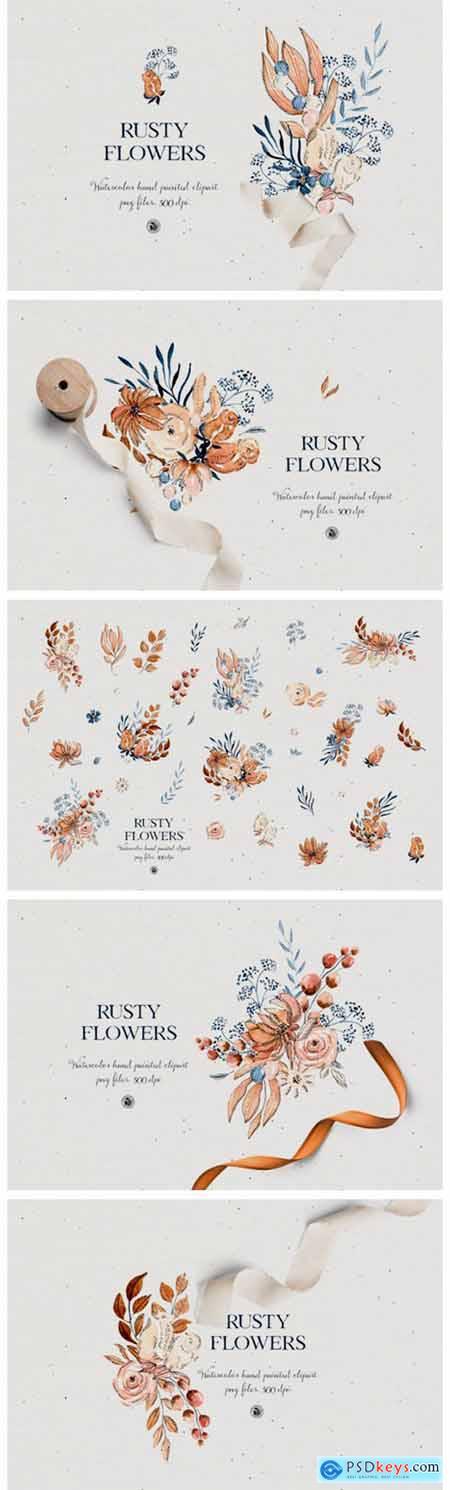 Rusty Flowers - Watercolor Set 7098711