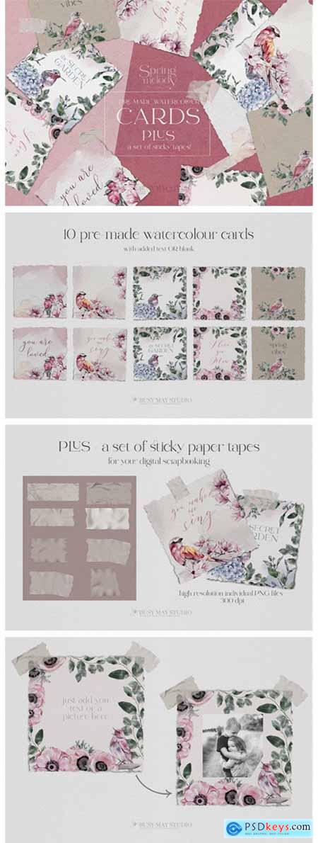 Watercolor Flower Birds Pre-made Cards 7712332