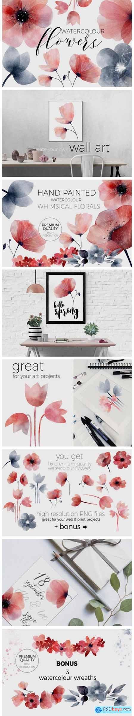 Whimsical Spring Florals Watercolor 6995920