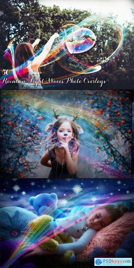 50 Rainbow Light Waves Overlays 3499904