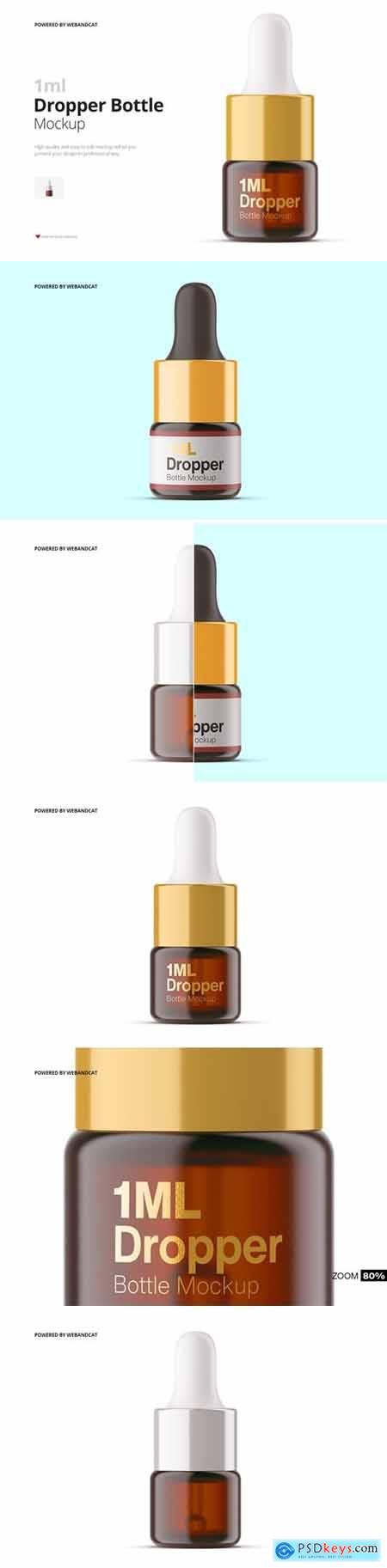 1ml Amber Glass Dropper Bottle Mockup