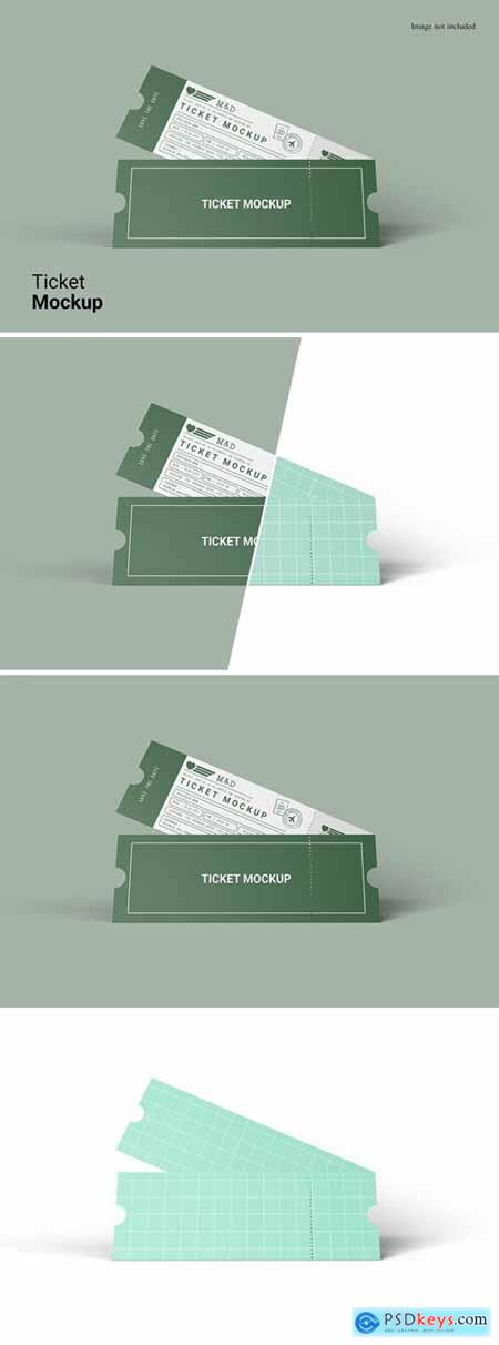Realistic View Ticket Mockup
