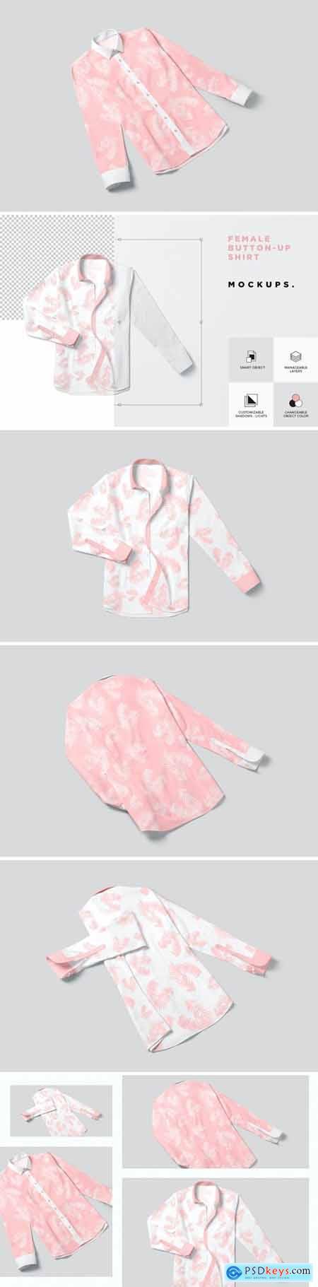 Button Up Shirt For Women Mockups
