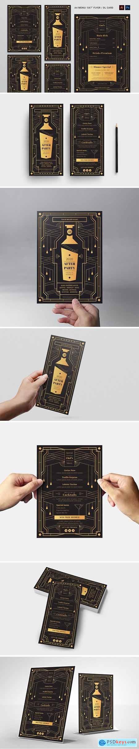 Art Deco Cocktail Bar Flyer & Menu