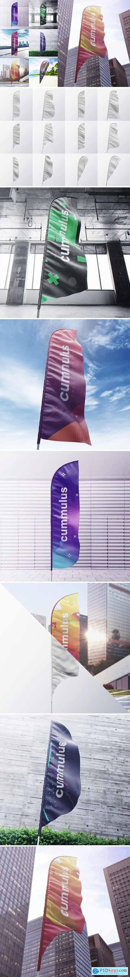 Quill Blade Teardrop Feather Bow Sail Flag MockUp