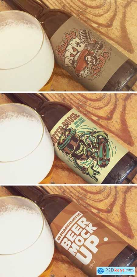 Beer lying on wooden table