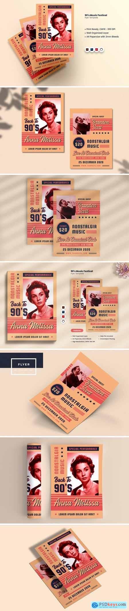 90s Music Festival Bifold Brochure