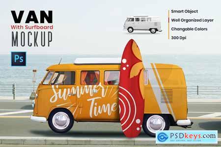 Van with Surf Board Mockup 5827004