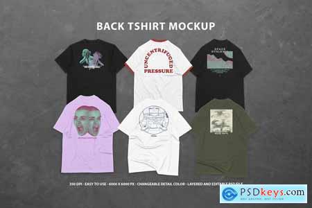 6 Realistic Back T-shirt Mockup 5810826