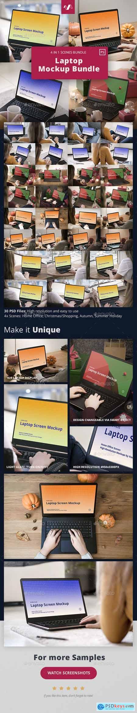 Laptop Mockup Scenes Bundle 30231191