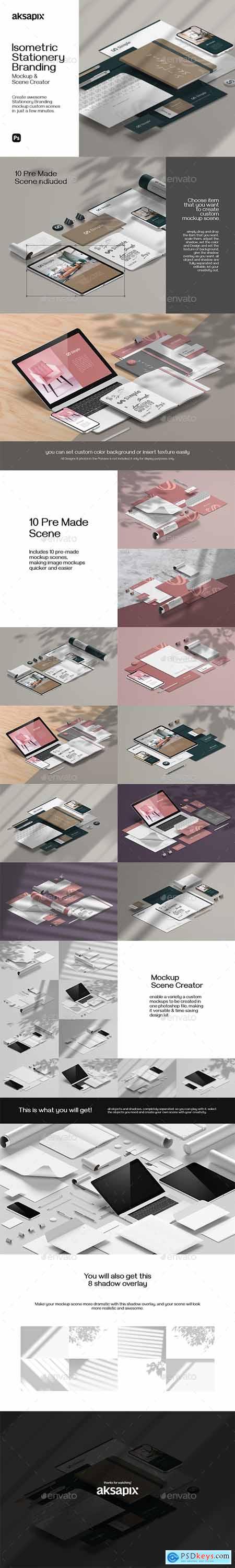 Isometric Stationery Branding - Mockup Scene Creator 30198161