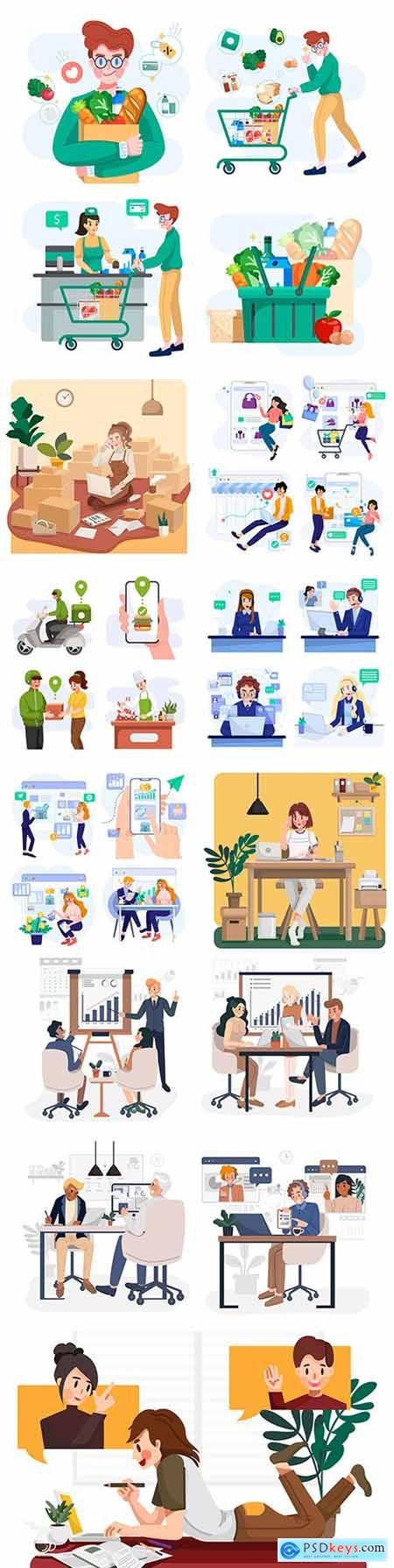 Business people in different settings concept illustration