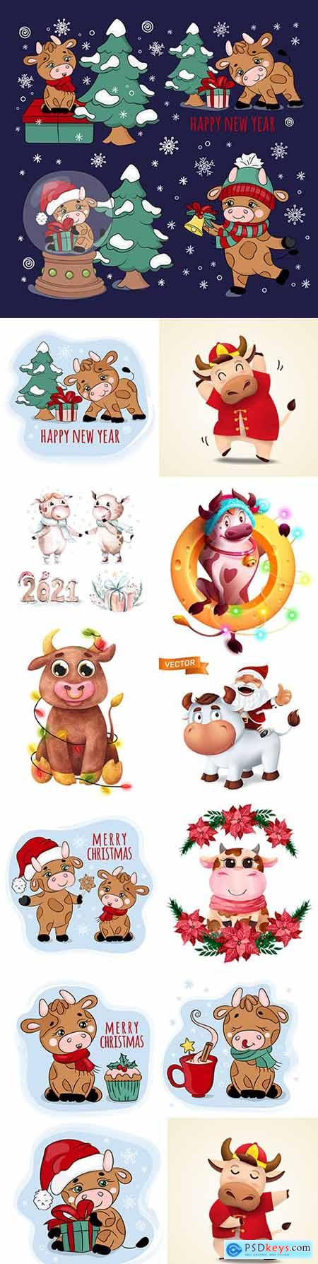 Cartoon bull in Christmas decorations illustration symbol New Year 2021