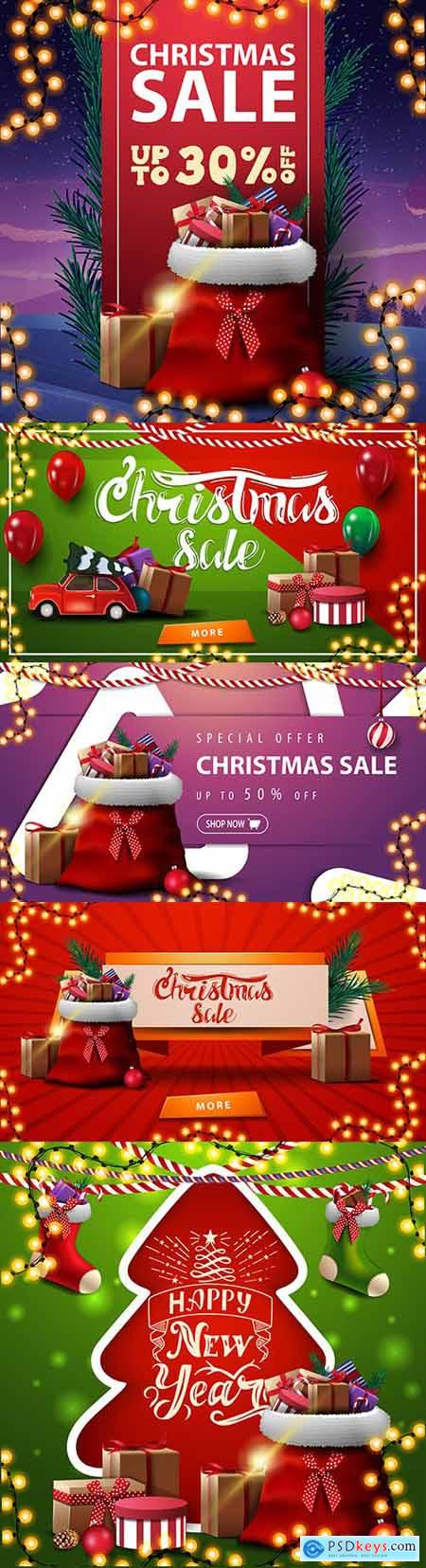Christmas banner with red ribbon and garland discounted