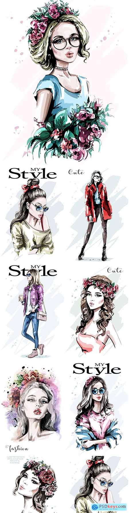 My style Hand drawn beautiful young and fashion girl 3